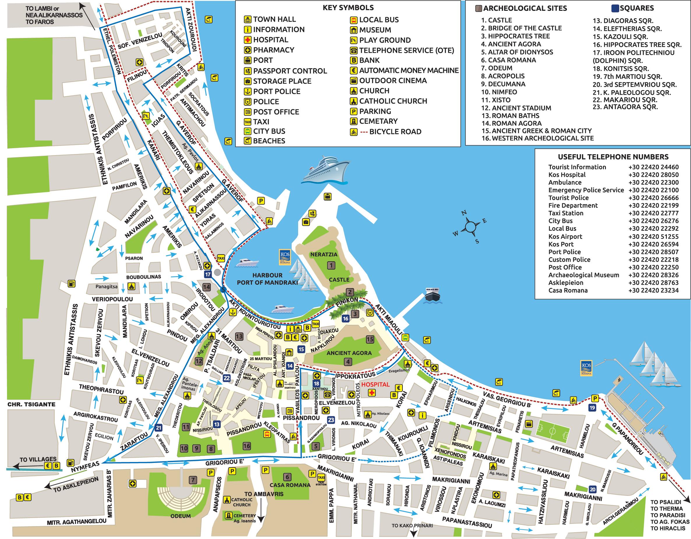 Kos Map - Kos Island Town, Greece Maps & Information Brochures ...