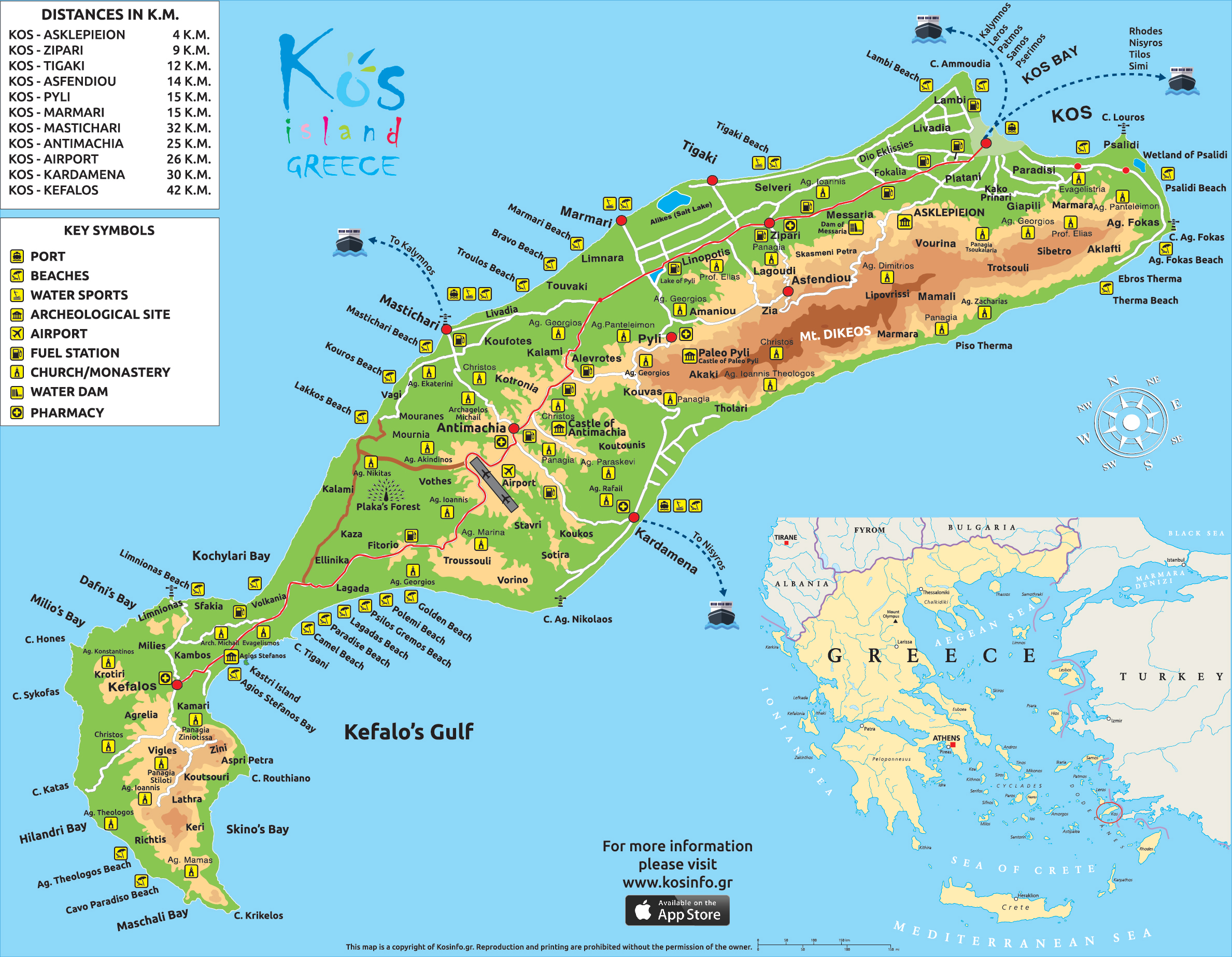 Kos map kos island town greece maps information brochures kos island map gumiabroncs Choice Image